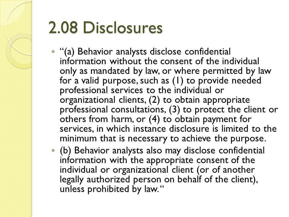 2.08 Disclosures
