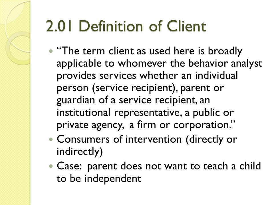 2.01 Definition of Client