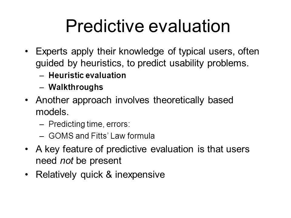 Predictive evaluation