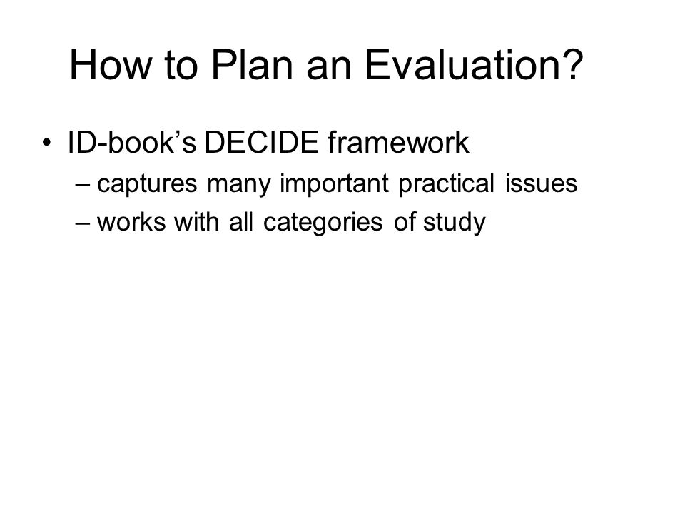 How to Plan an Evaluation