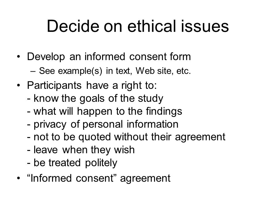 Decide on ethical issues