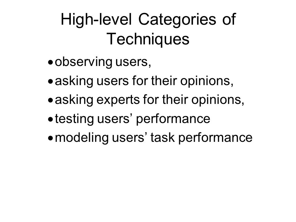 High-level Categories of Techniques