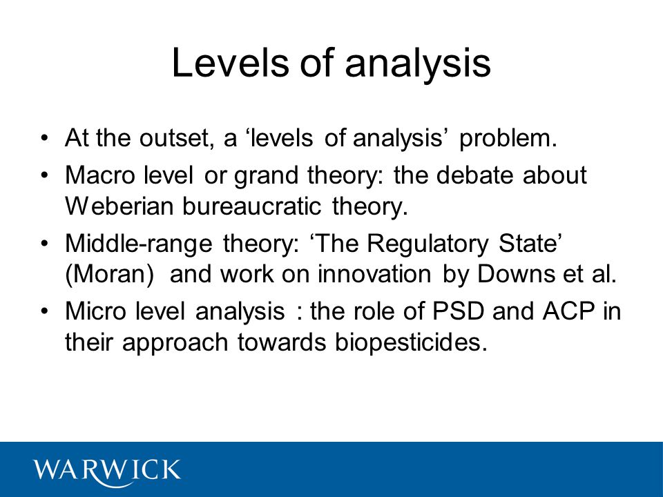 Levels of analysis At the outset, a 'levels of analysis' problem.