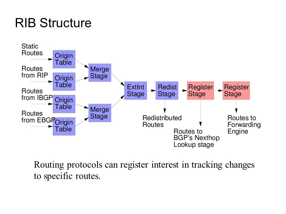 RIB Structure Routing protocols can register interest in tracking changes to specific routes.