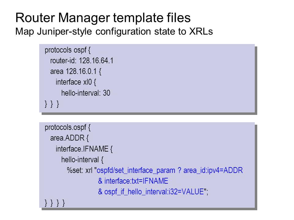 Router Manager template files Map Juniper-style configuration state to XRLs