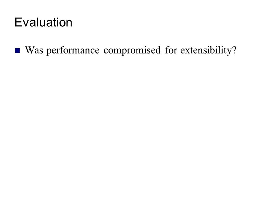 Evaluation Was performance compromised for extensibility