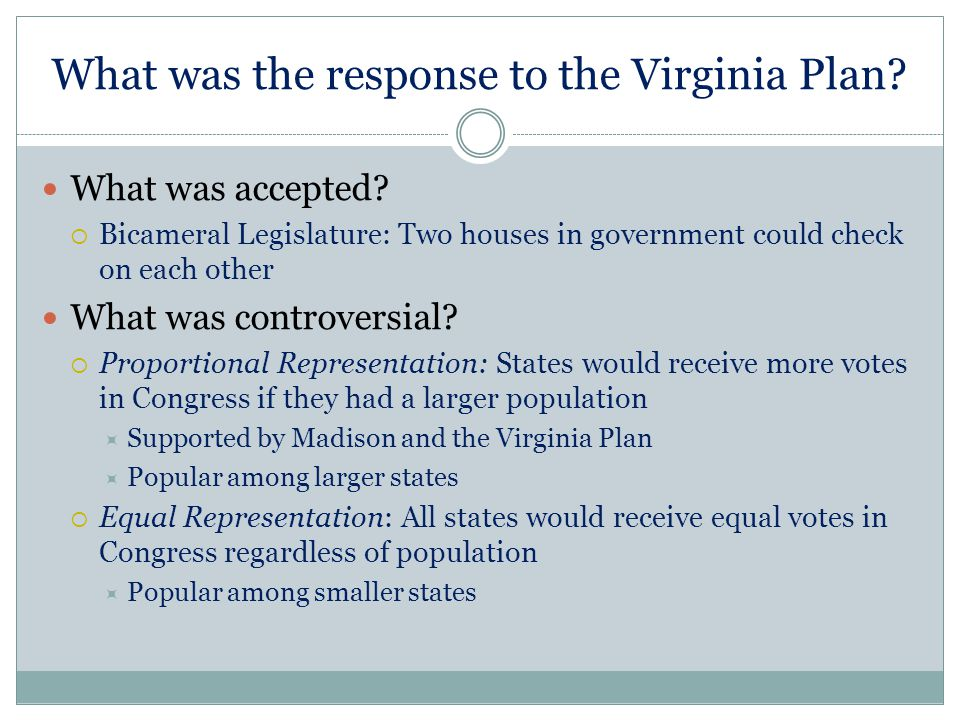 What was the response to the Virginia Plan