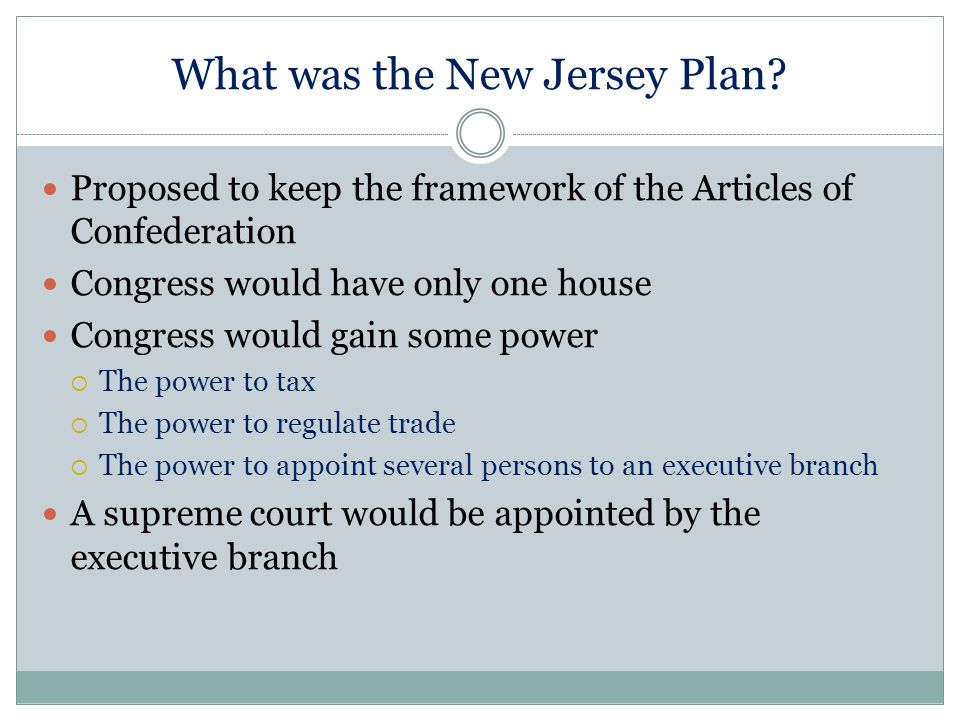 What was the New Jersey Plan