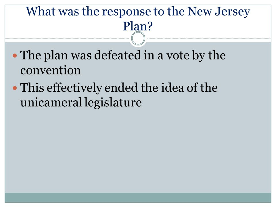 What was the response to the New Jersey Plan