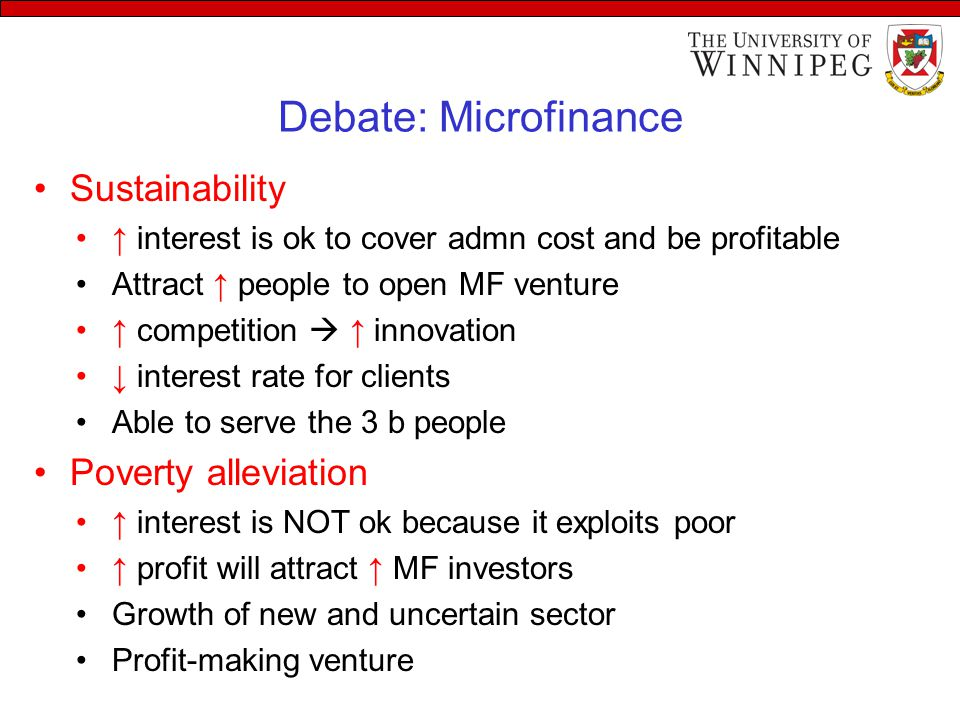 Debate: Microfinance Sustainability Poverty alleviation