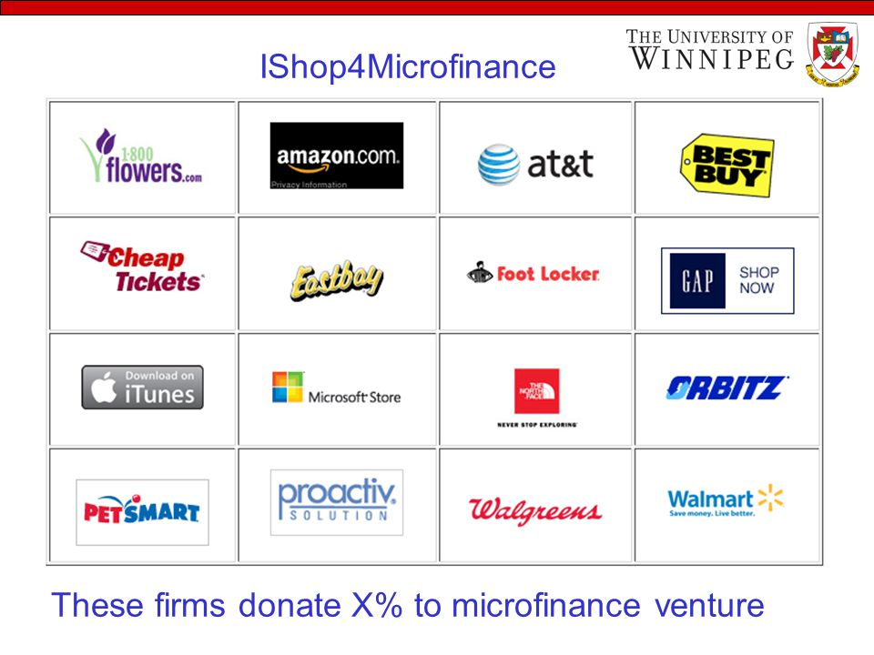 These firms donate X% to microfinance venture