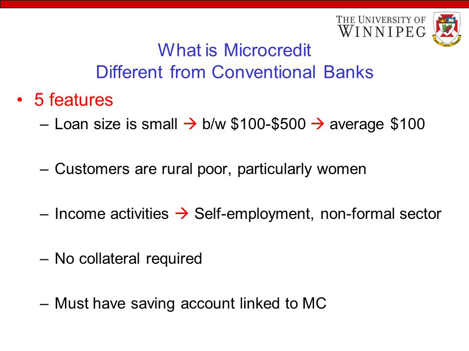 What is Microcredit Different from Conventional Banks