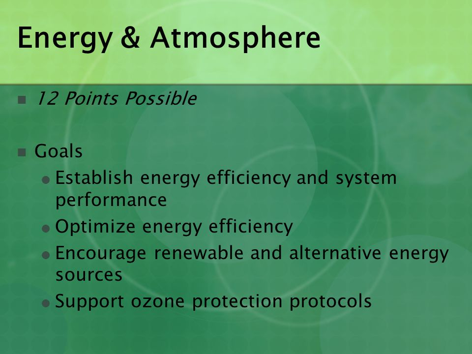 Energy & Atmosphere 12 Points Possible Goals