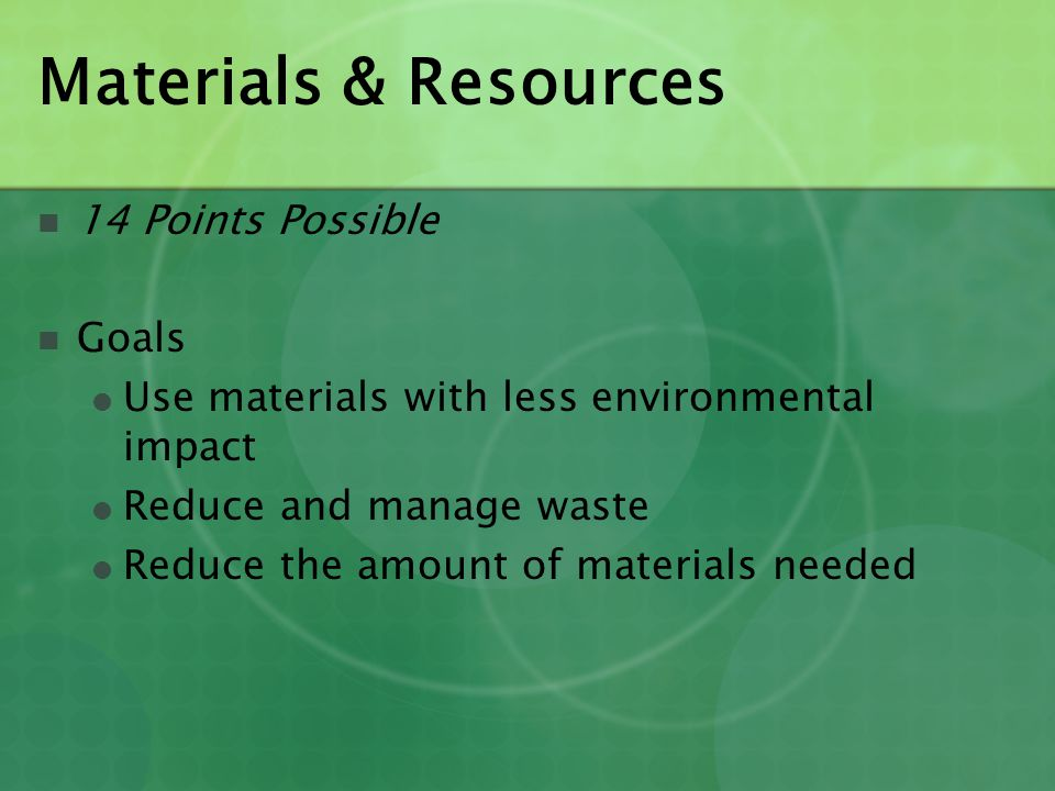 Materials & Resources 14 Points Possible Goals