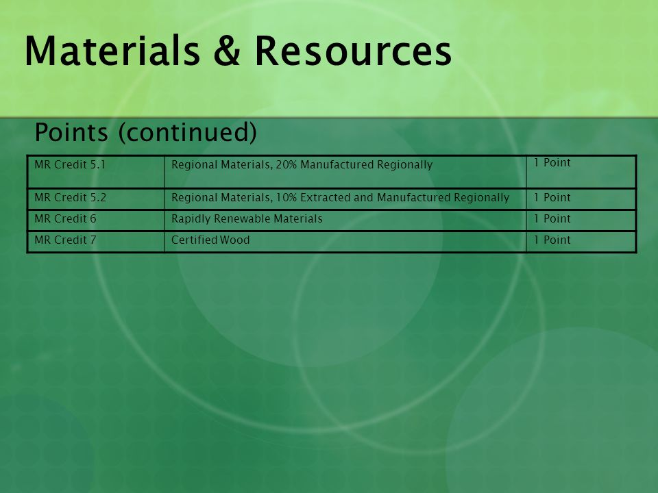 Materials & Resources Points (continued) MR Credit 5.1