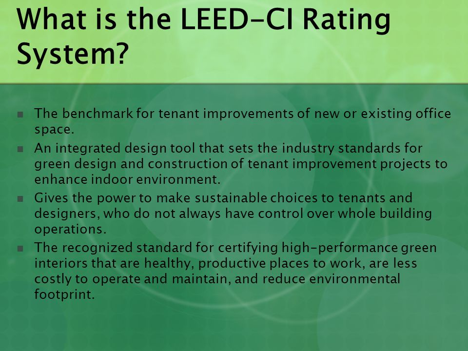 Leed Ci Leed For Commercial Interiors Ppt Video Online