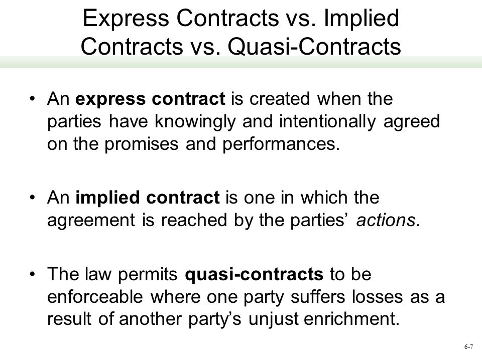 Express Contracts vs. Implied Contracts vs. Quasi-Contracts