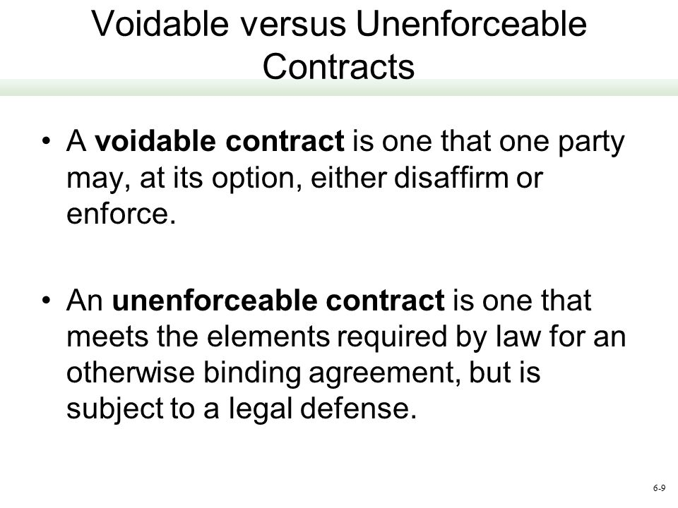 elements of a voidable contract There are essentially six elements of a contract that make it a void, voidable, and unenforceable contracts valid, void, voidable, and unenforceable.