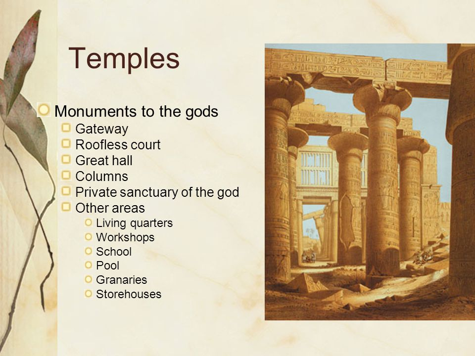 Temples Monuments to the gods Gateway Roofless court Great hall