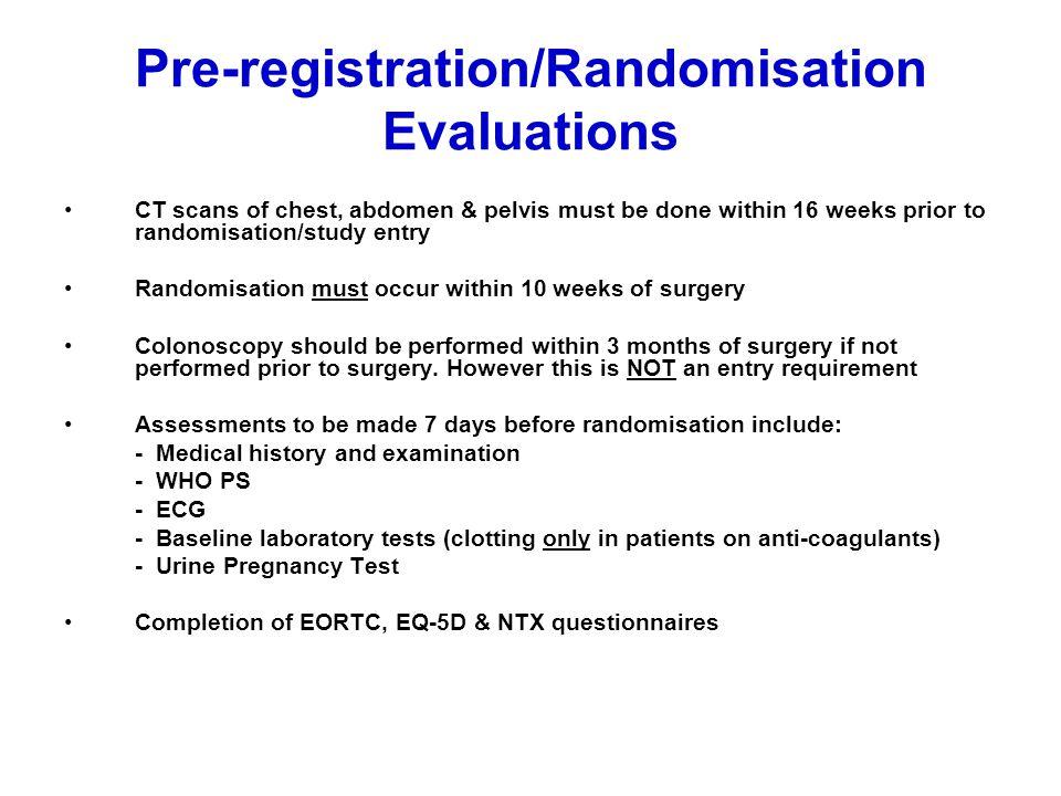 Pre-registration/Randomisation Evaluations