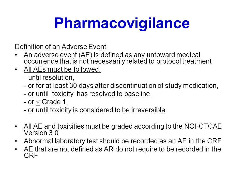 Pharmacovigilance Definition of an Adverse Event