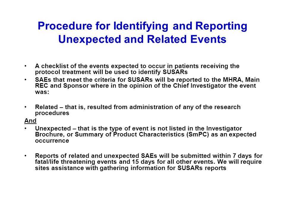 Procedure for Identifying and Reporting Unexpected and Related Events