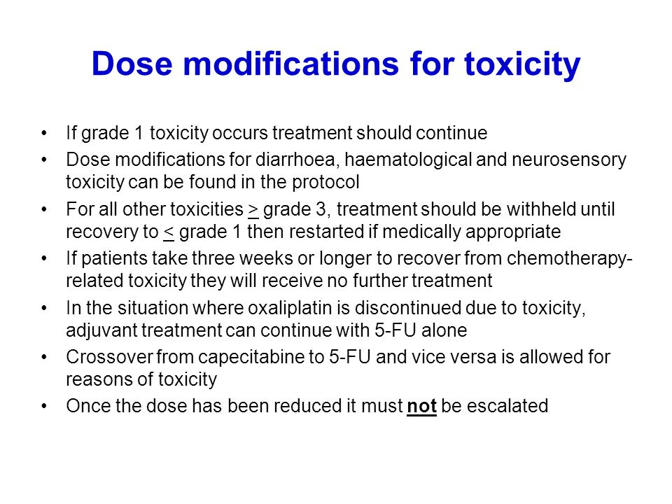 Dose modifications for toxicity