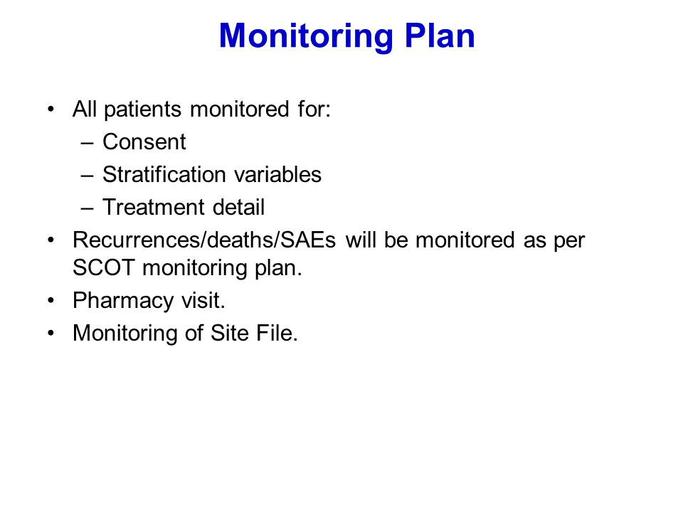 Monitoring Plan All patients monitored for: Consent