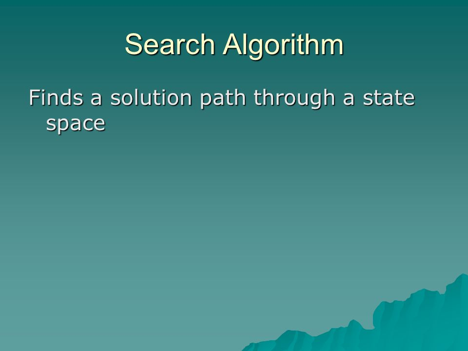 Search Algorithm Finds a solution path through a state space