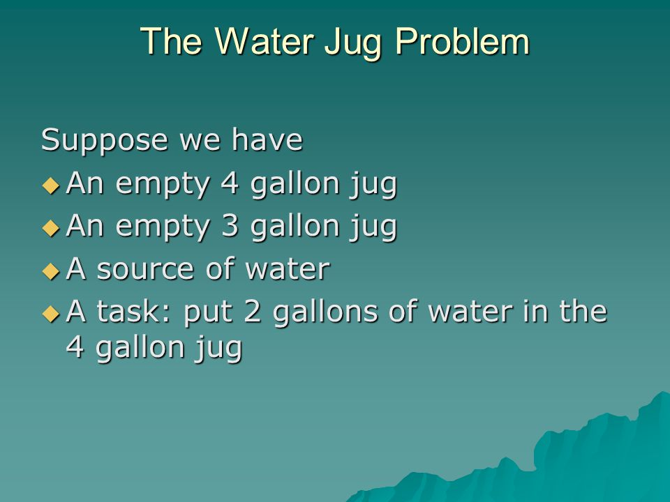 The Water Jug Problem Suppose we have An empty 4 gallon jug