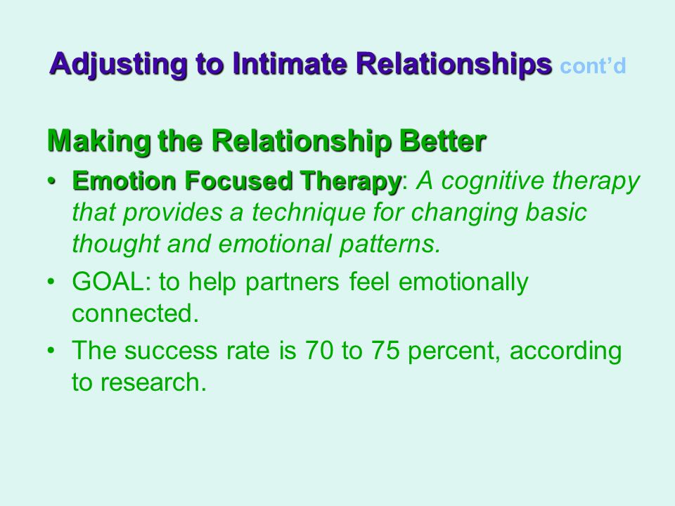 Adjusting to Intimate Relationships cont'd