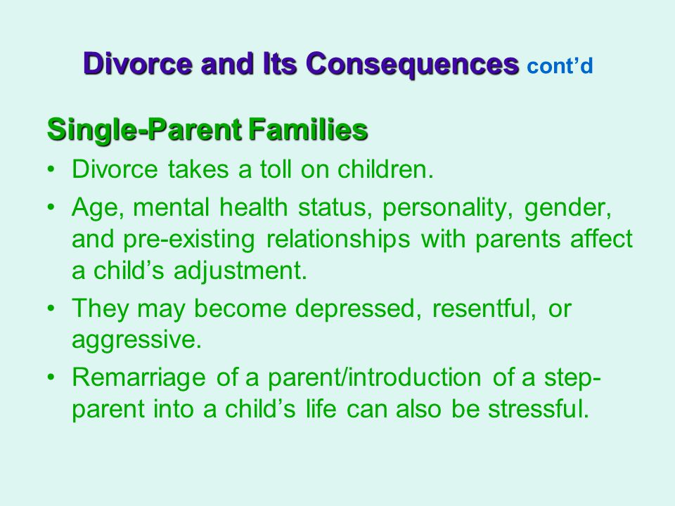 Divorce and Its Consequences cont'd