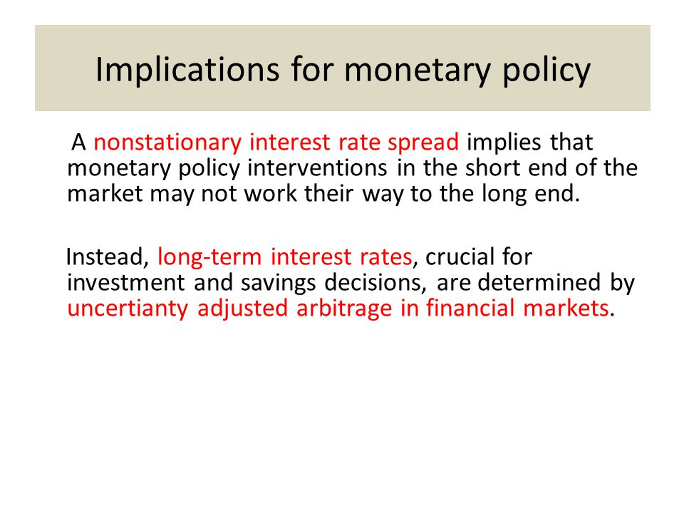 Implications for monetary policy