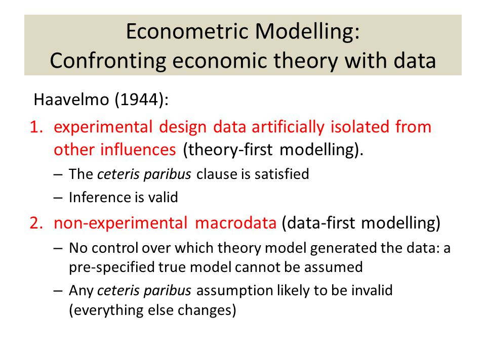Econometric Modelling: Confronting economic theory with data