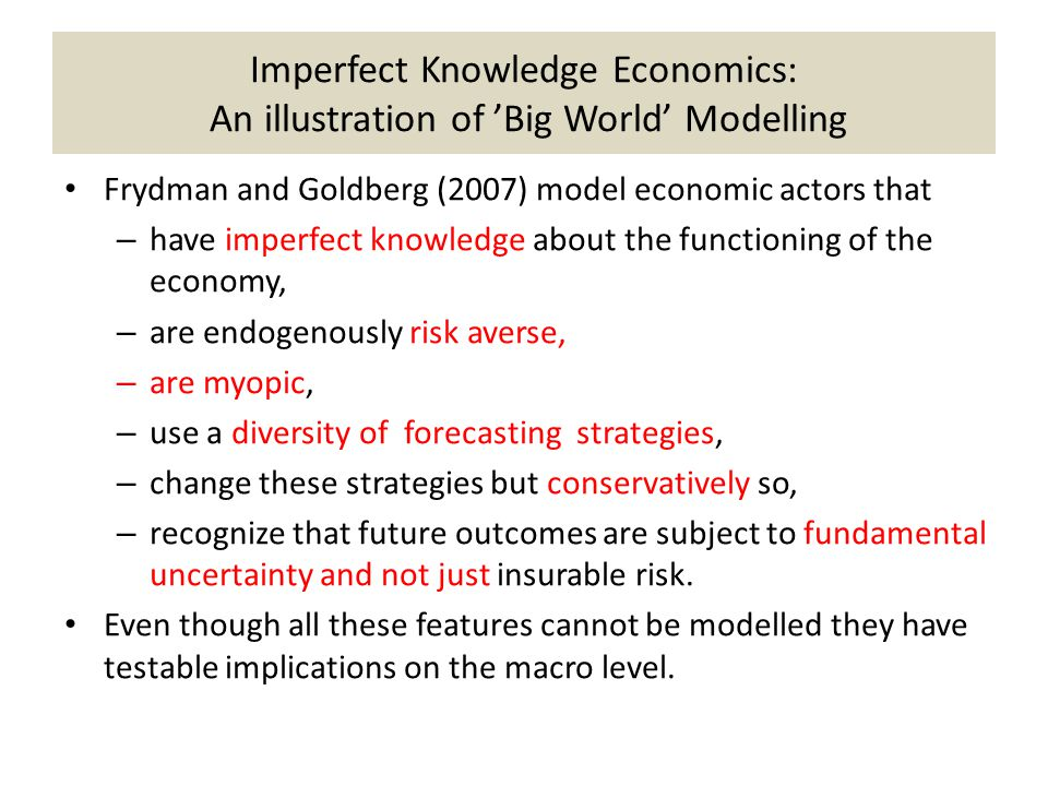 Imperfect Knowledge Economics: An illustration of 'Big World' Modelling