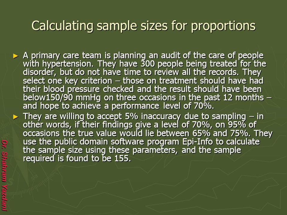 Calculating sample sizes for proportions