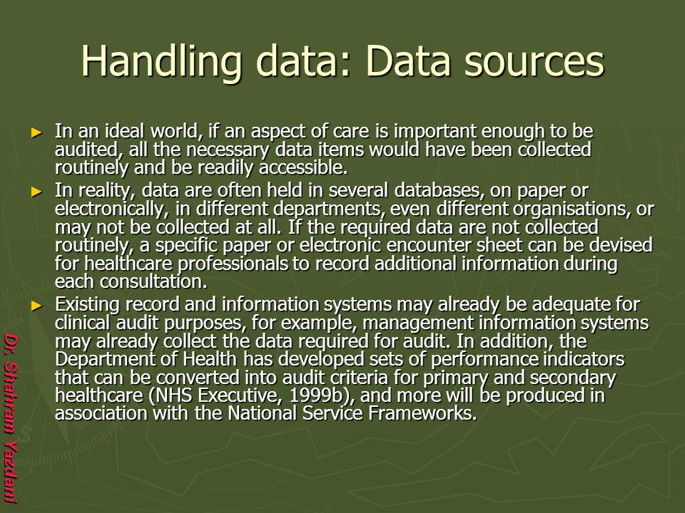Handling data: Data sources