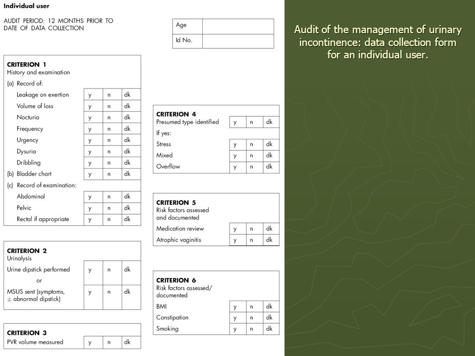 Audit of the management of urinary incontinence: data collection form for an individual user.
