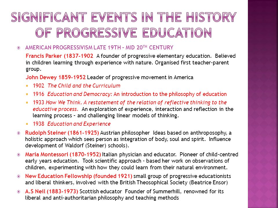 Significant events in the history of progressive education