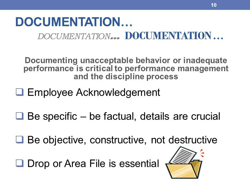 DOCUMENTATION… DOCUMENTATION… DOCUMENTATION …