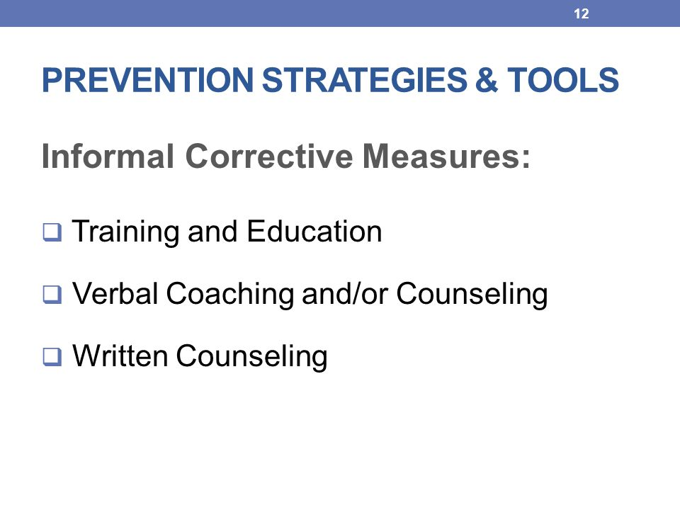 PREVENTION STRATEGIES & TOOLS