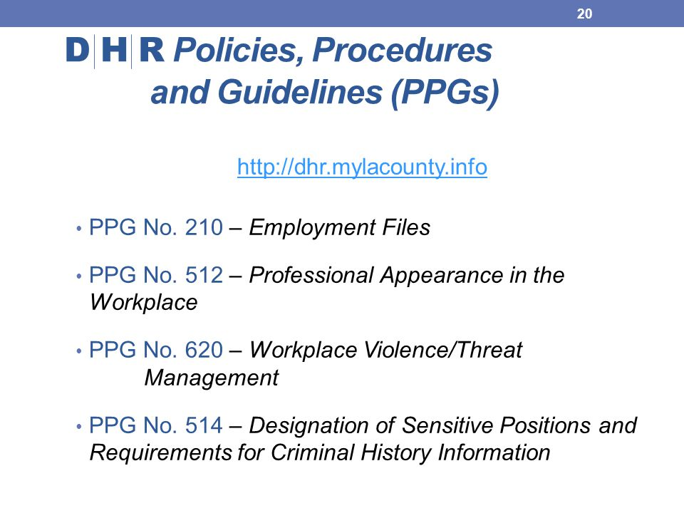 D H R Policies, Procedures and Guidelines (PPGs)