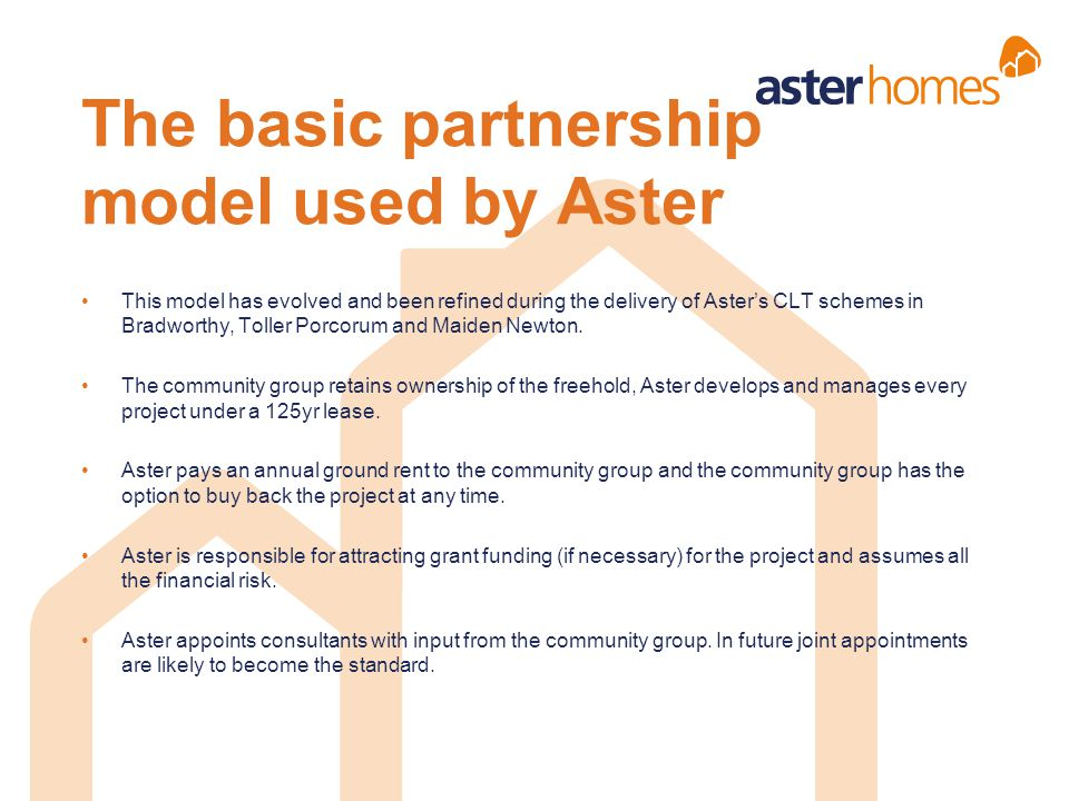 The basic partnership model used by Aster