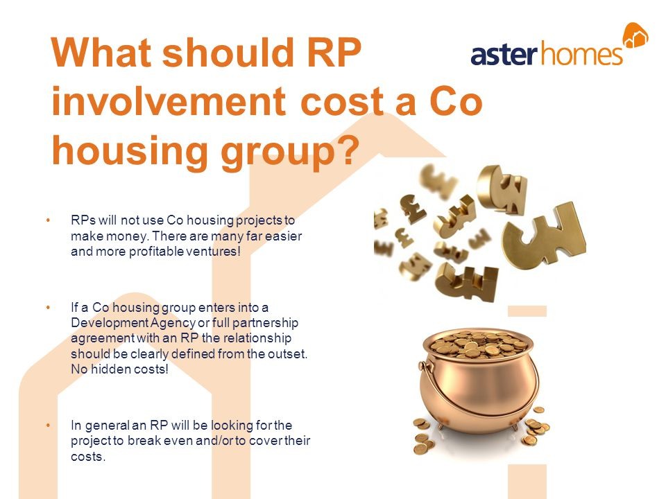 What should RP involvement cost a Co housing group