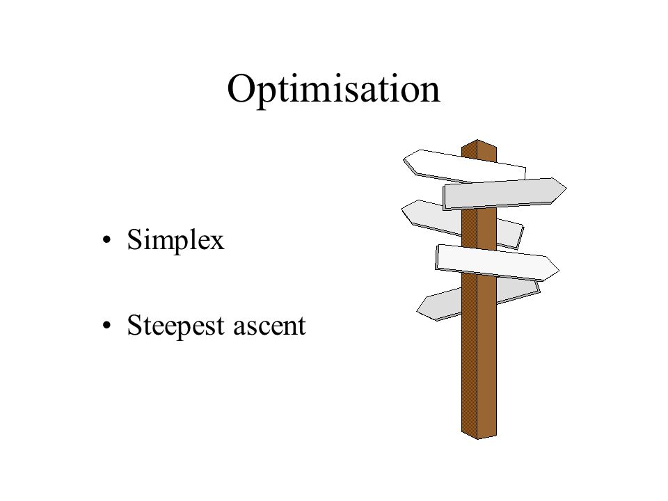 Optimisation Simplex Steepest ascent