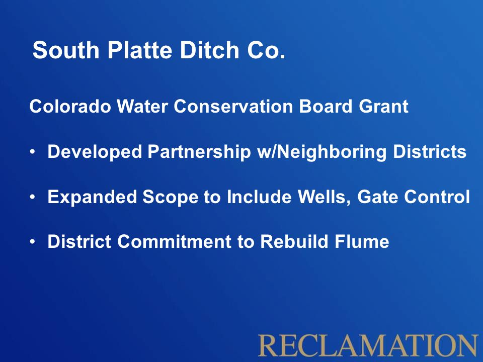 South Platte Ditch Co. Colorado Water Conservation Board Grant
