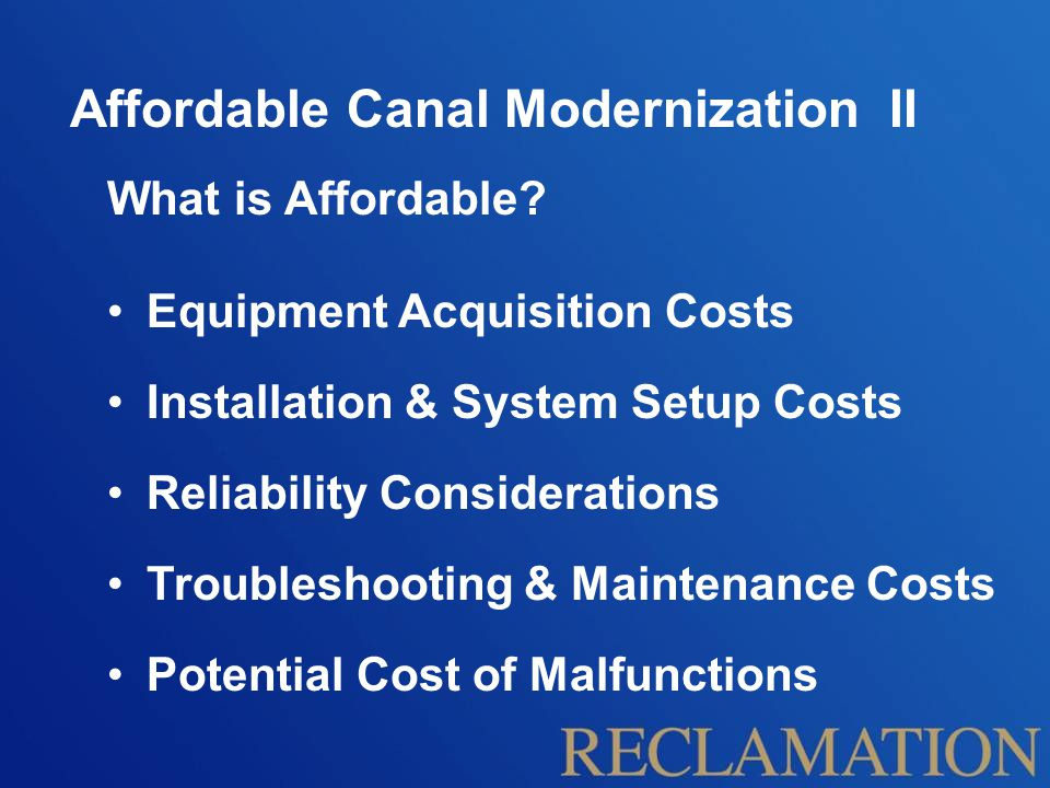 Affordable Canal Modernization II