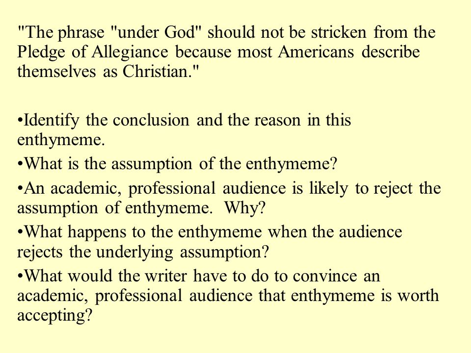 The phrase under God should not be stricken from the Pledge of Allegiance because most Americans describe themselves as Christian.