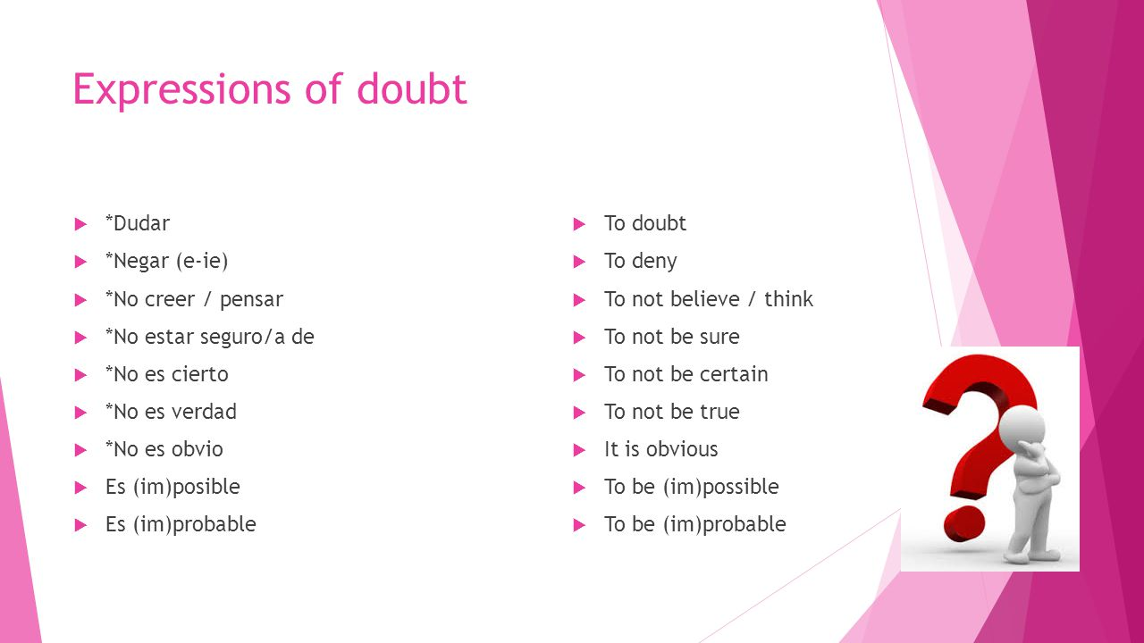 Expressions of doubt *Dudar To doubt *Negar (e-ie) To deny