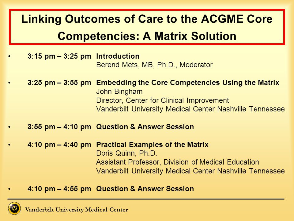 Linking Outcomes of Care to the ACGME Core Competencies: A Matrix Solution